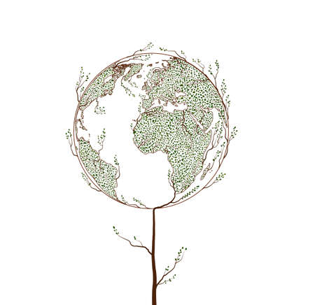 Earth planet map created from the leaves and looks like tree Illustration