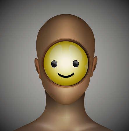 Inneres positives Konzept, Lächelnikone innerhalb des Mannkopfes, künstliche positive Idee, Vektor Vektorgrafik