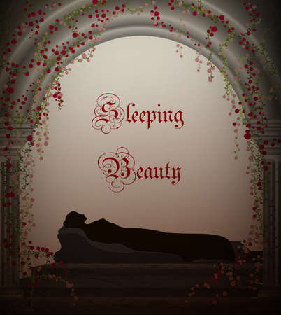 Sleeping beauty fairy tale, sleeping girl silhouette in the castle vector