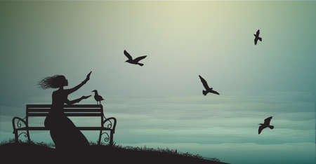 silhouette of girl sitting on the bench near the sea with sun-rise and feed the sea gulls, shadows, memories, sea sweet dreams.