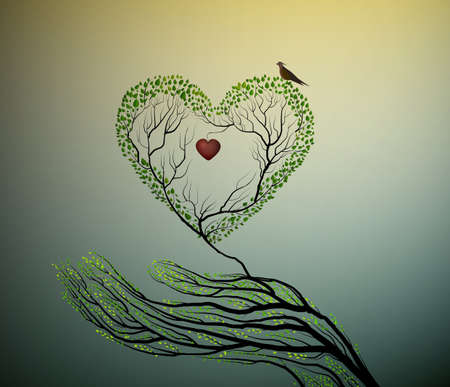 Heart of nature, treelike icon. A hand holding green heart to protect forest concept.