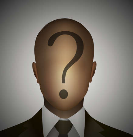 Faceless man with question on the head icon.