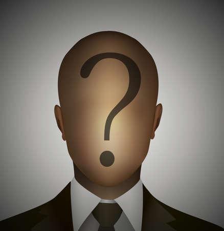Hombre sin rostro con pregunta sobre el icono de la cabeza. Foto de archivo - 88608945