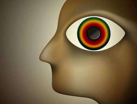 Hypnosekonzept, Männerprofil mit großem farbigem Auge nach innen, Vektorillustration.