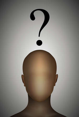 Who am I concept, faceless man with question sign above, vector illustration.