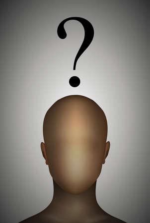 Wie ben ik concept, anonieme man met vraagteken hierboven, vectorillustratie.