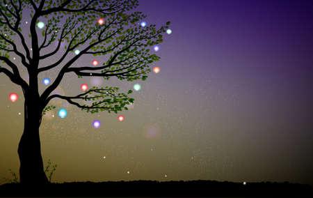 Arbre avec des lanternes colorées et des étincelles Banque d'images - 88699842