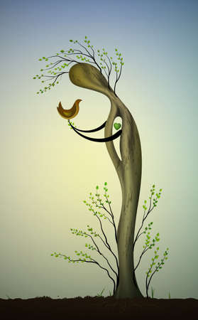 alive tree like a man with green heart inside holding the bird, save the tree and birds, tree like a bird, surrealistic tree dream, vector Illustration