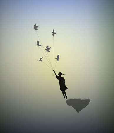 Girl is standing on the edge of flying rock and holding pigeons, way in the dreamland, follow your dream, shadows, silhouette Ilustração