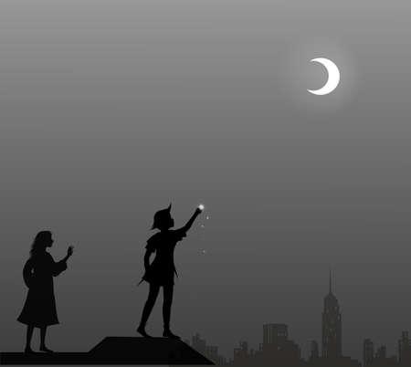 Peter Pan und Wendy auf dem Dach, Paar, Vektorgrafik