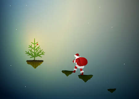 Santa in the dreamland, Santa goes on flying rock to the christmas tree, Santa scene,