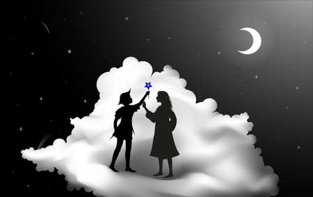 Peter Pan story, Peter Pan and Wendy standing on the cloud, fairy night,