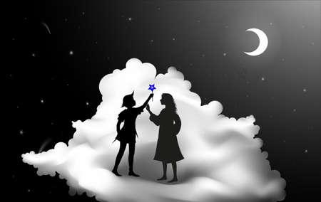 Peter Pan-verhaal, Peter Pan en Wendy staan op de wolk, sprookjesnacht,