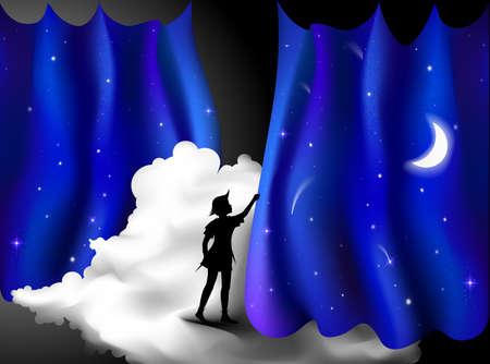 Peter Pan Geschichte, Junge steht auf der Wolke hinter dem nachtblauen Vorhang, Feenacht, Peter Pan, Vektorgrafik