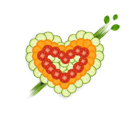 set of vegetable in heart shape, we love vegetables idea, vector, we love healthy food idea,