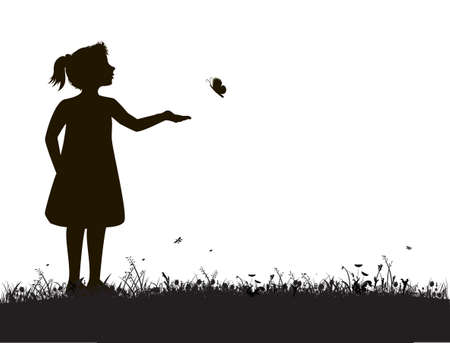 small girl and butterfly, try to catch butterfly,summer garden scene, black and white, white background,shadows Stock Illustratie