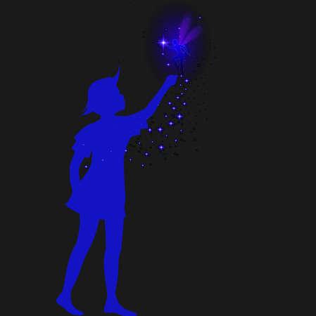 妖精と青いス球のピーターパンシルエット、