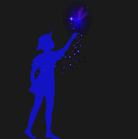 peter pan silhouette with fairy and blue sparckle, Foto de archivo