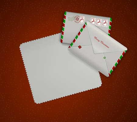 Paper christmas invitation and two mail envelopes on red background. Illustration