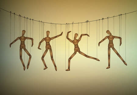 Many marionette in different positions hanging on the threats, manipulate the people concept, Ilustração