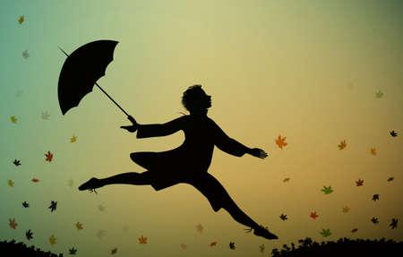 Junger Mann springt und hält den Regenschirm, Herbststoßzeit, springend vor Freude,