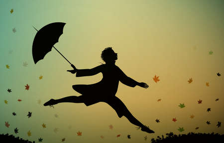 Young man jumps and holding the umbrella, autumn rush time, jumping for joy,