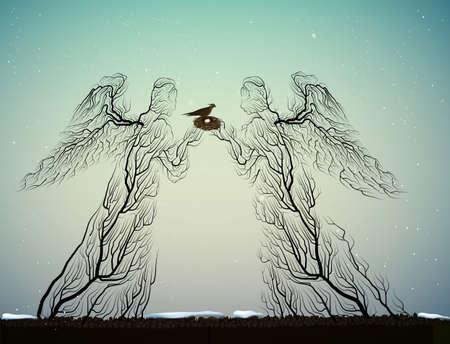 Boomsilhouetten zien eruit als engelen, mensen houden van planten, surrealisme,
