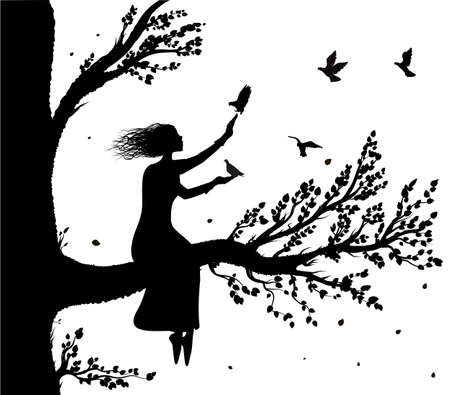 Girl sitting on big tree branch an holding the pigeons flying to her, autumn wind and birds silhouette, secret place, childhood memory, Ilustração