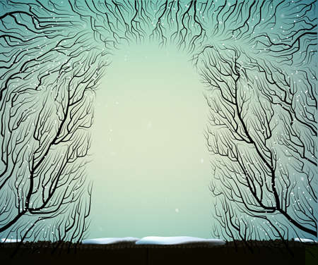 way to the deep fairy frosty winter forest, shadows, branches silhouette, blue blue fairy Illustration