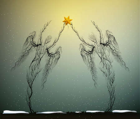 two tree silhouettes like a angels holding red Christmas star in snowing weather, Christmas icon concept, people like plant,