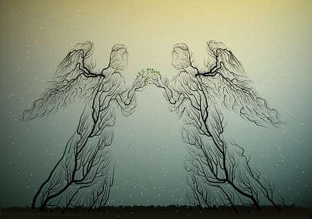 木のシルエットは天使のように見えます, 植物のような人々, シュールレアリズム,