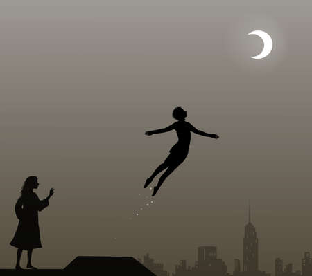 Peter Pan and Wendy on the roof, peter pan flies, couple, Banque d'images