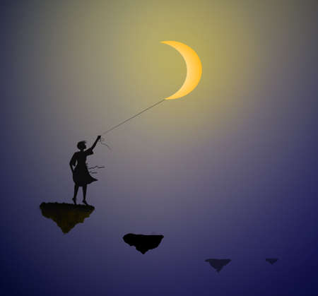 girl with white moon standing on the flying rock, hold the moon on the sky, life on the flying rock, shadows,