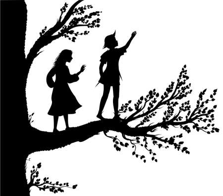 Peter and Wendy silhouette, boy and gil on the big tree, tree of childhood, childhood memory,