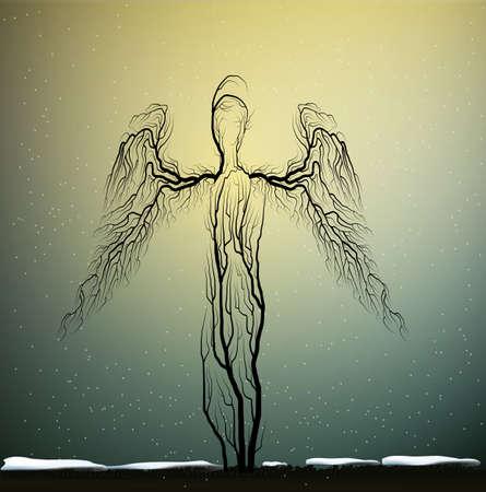 ツリー シルエットに見える植物のような人々、天使のような