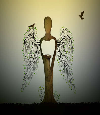 A forest soul, tree looks like angel with birds and nest inside, forest spirit, tree sculpture with birds, tree s dream,
