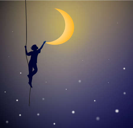 A boy hanging on the rope and touching the moon, on the heavens, dreams concept can be used for banner or poster design Çizim