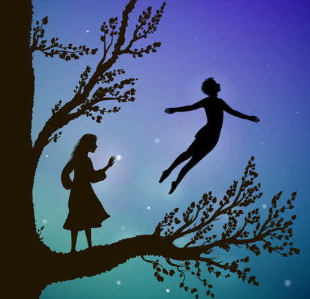 Black silhouette tree in the night with magic flying boy and girl on the big tree, way to the wonderland dream concept for decorative frame design 일러스트