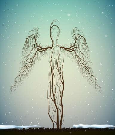 アウトライン ツリー シルエット、天使のように見える人々 の冬の天候の植物のようなバナー広告や装飾的なフレームのデザインに使用できます。