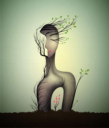 Woman soul, surrealistic woman statue, woman shape abstract idea with red rose growing inside, spring dream icon concept, surrealism, Illustration