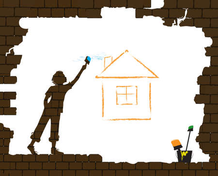 boy draws the house by paint brash on the old broken brick wall, protect homeless children concept, home dream idea, graffiti, vector