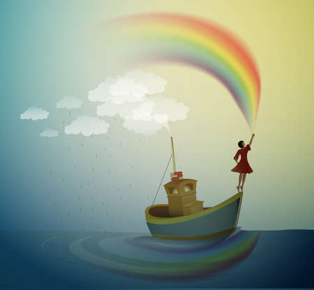 girl holding the rainbow and standing on the top of the boat, magic ship in the dreamland, scene from wonderland, vector