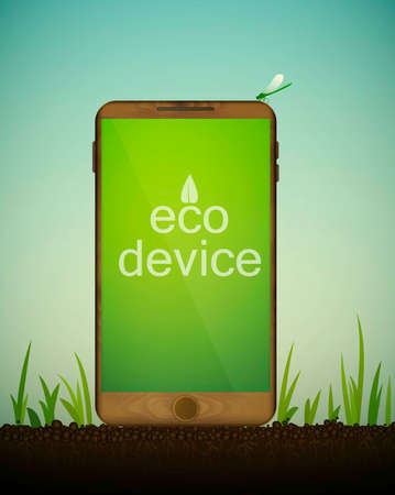 Wooden smartphone on soil between the grass, mobile from the the recycled materials, eco material concept, eco device idea, vector.