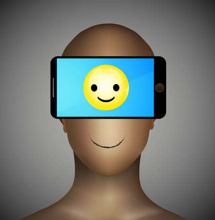 addicted to smartphone concept, problem of the normal communication only device using, smiley icon on the smartphone,