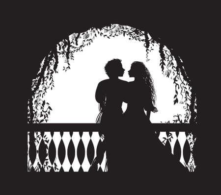 Shakespeare s joue Roméo et Juliette sur le balcon, rendez-vous romantique, silhouette, histoire d'amour, Vecteurs