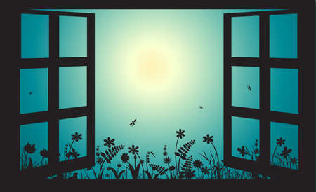 Open window in early morning summer garden, sun rise,