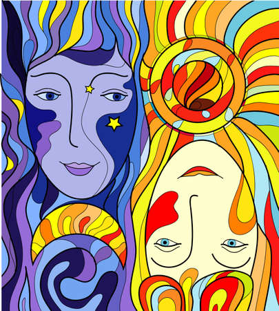 day and night faces, twin faces, Ilustrace