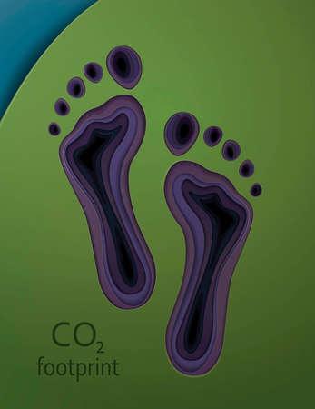 Human carbon oxygen footprint concept, global warming idea, vector