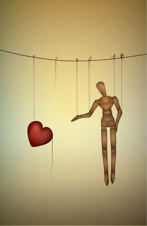 need love concept, marionette tries to take a big heart, marionette life series, vector