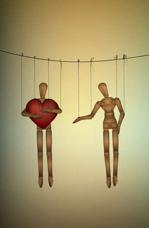 selfish concept, marionette holds big heart and do not share with another, greedy lover.